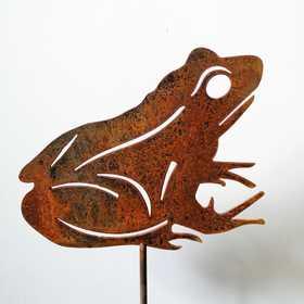Żaba - dekoracja ogrodowa z rdzą